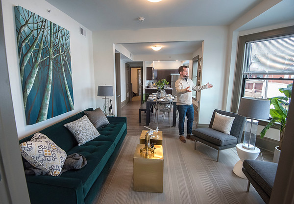 James Neiss/staff photographer <br /> Niagara Falls, NY - Dan Crowther, project manager with TM Montante Development, shows off a shiny new 925 square foot 2 bedroom apartment that is ready to rent for $1350 a month, one of 17 apartments that will be available at 616 Niagara Street. Those interested can see for themselves during an open house this Saturday January 25, from 11 a.m. to 3 p.m.