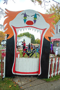 201020 Clown Yard 1 James Neiss/staff photographer  Niagara Falls, NY - Michael Destino was seen clowning around in his 60th Street front yard where he and wife Cecilia have created a creepy clown fairground for Halloween.