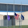 200408 Flags Half Staff<br /> James Neiss/staff photographer <br /> Lockport, NY - The flags at Yahoo in Lockport are flying at half staff. Governor Cuomo ordered all flags flown so in honor of the victims of the COVID-19 virus.