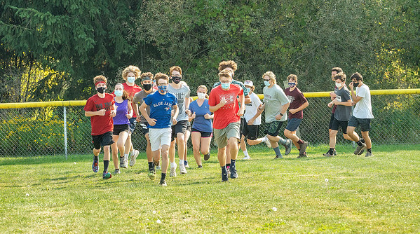 200925 Barker Sports 1<br /> James Neiss/staff photographer <br /> Wilson, NY - The Barker Cross Country team hits the field for practice on Friday.