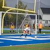 201002 GI Girls Soccer 1<br /> James Neiss/staff photographer <br /> Grand Island, NY - Grand Island Girls Soccer goalie Rebecca Schultz keeps a ball out of the net during practice.