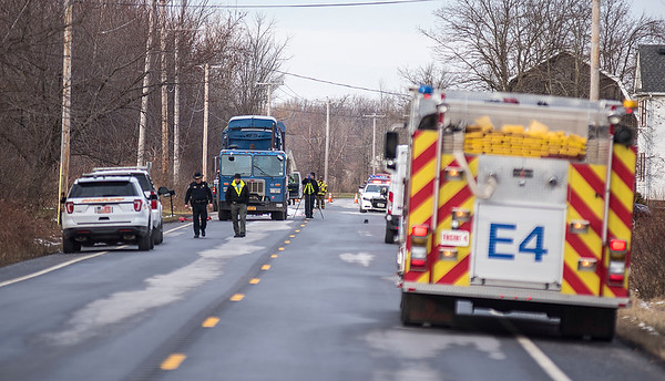 James Neiss/staff photographer <br /> Cambria, NY - Investigators were on the scene of a fatal accident where a male pedestrian was killed after he was hit by a commercial garbage truck in the 4500 block of Cambria Wilson Road.
