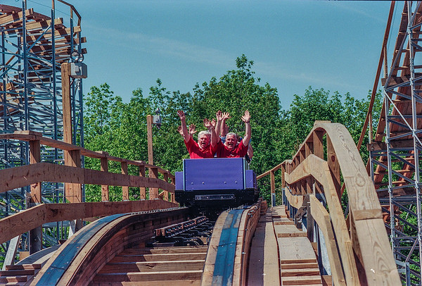 James Neiss/staff photographer <br /> Grand Island, NY - Members of the Western New York Coaster Club, staff and local dignitaries enjoy riding The Silver Comet on opening day at Fantasy Island in 1999.