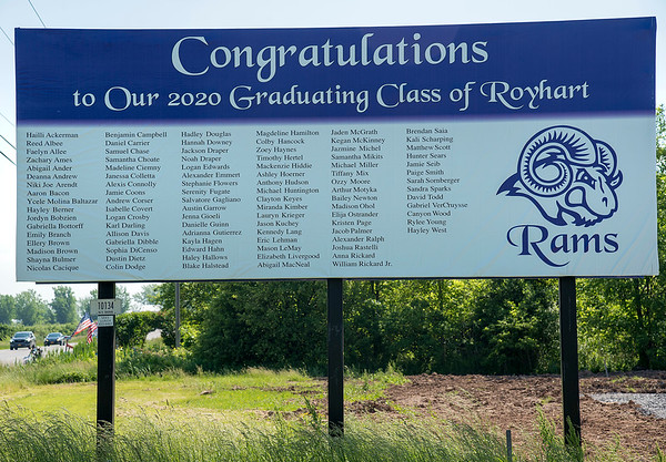 2006010 Senior Billboard 1<br /> James Neiss/staff photographer <br /> Niagara Falls, NY - A billboard next to the Red, White & Blue Self Storage on Ridge Road features the names of the Royhart class of 2020.