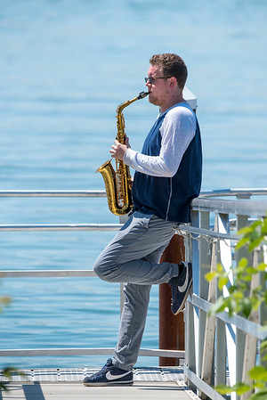 """200629 Jon Lehning 1<br /> James Neiss/staff photographer <br /> Niagara Falls, NY - Niagara Falls Alto Saxophone player Jon Hehning released an album titled Saxophone Colossus.<br /> <br /> INFO:<br /> Jon Lehning is a young Niagara Falls resident (29 or 30) who is trying to make a go of a jazz saxophone career while staying true to his local roots. Jon is extraordinarily talented. He is complete musical professional. He has a new CD. <br /> <br /> I've known Jon for many years because my nephew, Anthony Henry, plays electric bass in various bands Jon has organized or for whom he plays. Anthony is one of the musicians on the CD. <br /> <br /> Jon had a CD release party scheduled in March for his new CD, """"Saxophone Colossus,"""" but, of course, that was upended.<br /> <br /> He is currently residing at his parents house in the Falls. His music career is postponed because there are no clubs to play in and no weddings to play at."""