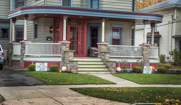 201102 Campaign Signs 2<br /> James Neiss/staff photographer <br /> Lockport, NY - A home on East Avenue has signs encouraging voters to vote for truth, vote for science and to stay classy this election day.