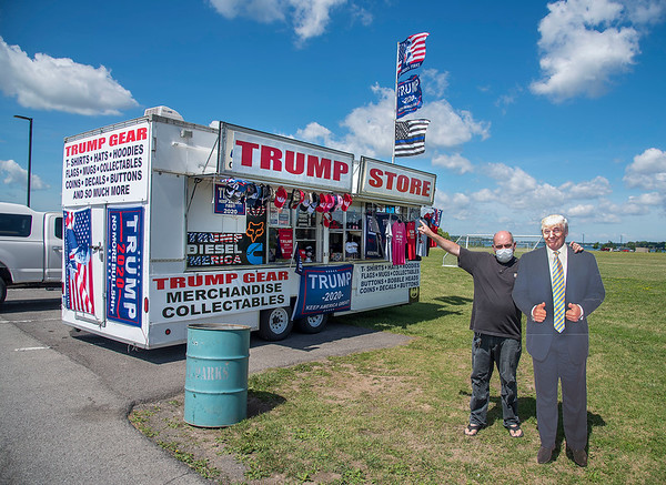 "200720 Trump Trailer 1 <br /> James Neiss/staff photographer <br /> Niagara Falls, NY - The Trump Trailer made a stop at Gratwick Riverside Park on Monday. Tom the proprietor, from Buffalo, said he plans setting up again on Tuesday for those looking to get some Trump memorabilia.  Those wishing to find out where it will be next can do so by searching facebook at <a href=""https://www.facebook.com/Trump-Trailer-114082267029014/"">https://www.facebook.com/Trump-Trailer-114082267029014/</a>."
