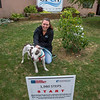 200911 SPCA 1<br /> James Neiss/staff photographer <br /> Town of Niagara, NY - Kimberly LaRussa, director of community engagement at the Niagara County SPCA shows off Silvia a 10 year old Pitbull mix that is just one of the animals benefiting from the1980 Step Challenge launched by Niagara Falls Medical Memorial Center to honor our first-responders – brave men, women and animals – who were on site of the September 11, 2001 tragedy.