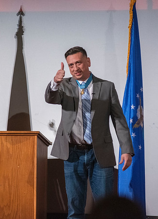 James Neiss/staff photographer <br /> Lockport, NY - The audience rose to greet Medal of Honor recipient Staff Sgt. David Bellavia who was the guest speaker for an event at the Palace Theatre presented by VFW Post 2535.