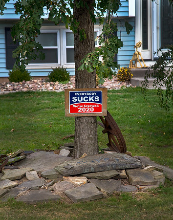 201001 Enterprise 1<br /> James Neiss/staff photographer <br /> Town of Niagara, NY - Bipartisan Polarization - Some might think this Hickory Lane resident, in the Town of Niagara, seems discontent with the choice of 2020 political candidates.