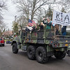 200501 WWII Vet Parade 4<br /> James Neiss/staff photographer <br /> Niagara Falls, NY - A military vehicle filled with pinup girls wave to the birthday boy. Family and friends got together to give Mike Romano, a WWII army veteran with a purple heart, a 95th surprise birthday parade in front of his Fourth Street home.