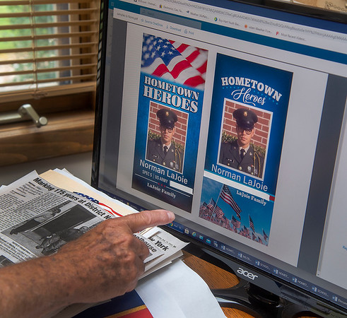200929 Hartland Hero's 2<br /> James Neiss/staff photographer <br /> Town of Hartland, NY - The Town of Hartland Historian Norman LaJoie talks about the selection process for the Hometown Heroes banners to be displayed next summer.