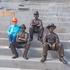 200717 LKPT Statues 2<br /> James Neiss/staff photographer <br /> Lockport, NY - Youngstown sculptor Susan Geissler installed 3 of 14 locktenders being sculpted that are fashioned after a photo of them posing in this exact location at the Lockport Locks in 1897.