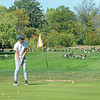 200921 Enterprise 4<br /> James Neiss/staff photographer <br /> Niagara Falls, NY - Obstacle Course? - Evan Stickney makes a putt at the Hyde Park Golf Course where he and his friend Luke Den Haese had to play through and obstacle course of geese.