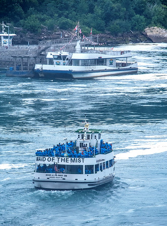 200723 Maid Capacity 2<br /> James Neiss/staff photographer <br /> Niagara Falls, NY - The Maid of the Mist heads back to dock after taking tourists sightseeing at the base of the American and Canadian Falls. The company has been criticized in the news recently for the apparent lack of customer social distancing.