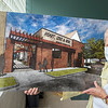 200828 Daybreak Update 4<br /> James Neiss/staff photographer <br /> Niagara Falls, NY - Sister Beth Brosmer, Executive Director of Heart, Love & Soul shows off a rendering of the Daybreak facility addition at Heart Love & Soul with an expected completion date in early fall