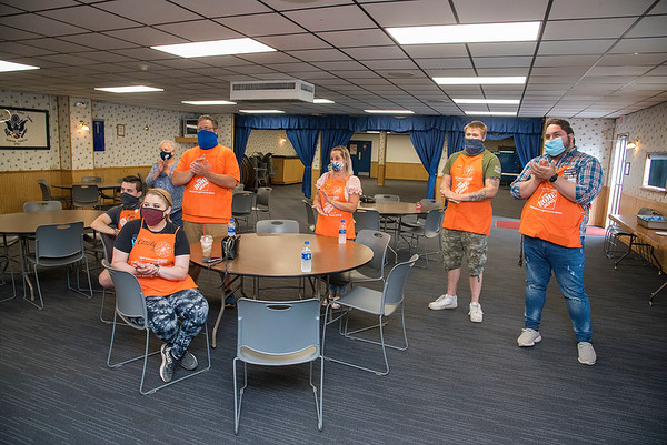 200811 VFW Gratitude 2<br /> James Neiss/staff photographer <br /> Niagara Falls, NY - Home Depot crew that worked on the Post 917 renovations were honored during a rededication ceremony at the post. Members of the LaSalle-Griffon VFW Post 917, joined by local dignitaries, showed their appreciation to the Home Depot Foundation for its generous help sprucing up the post.