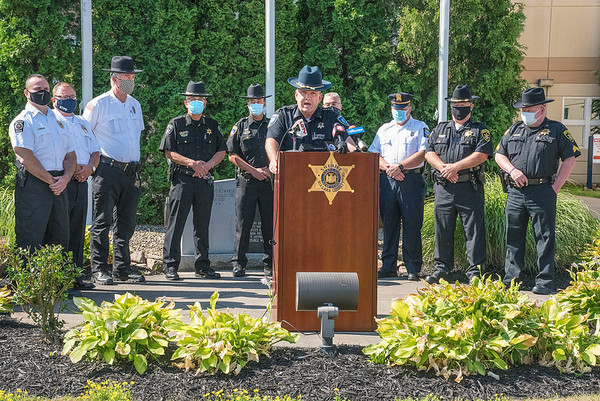 200715 Sheriff Statement 1<br /> James Neiss/staff photographer <br /> Lockport, NY - Acting Niagara County Sheriff Michael Filicetti was joined by police agency representatives from Barker, North Tonawanda, Middleport, Allegany County, Lewiston, Niagara Falls and Orleans County to outline their ideas concerning future policing policy.