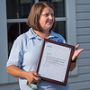 200811 Postal Hero 2<br /> James Neiss/staff photographer <br /> Newfane, NY - US Postal Carrier Michelle Danner says a few words after being honored for notifying a resident of a natural gas leak, preventing a possible disaster.