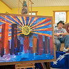 200909 9_11 Artist 3<br /> James Neiss/staff photographer <br /> Cambria, NY -  Local artist Richard 'Sean' Manning, has been creating 9/11 commemorative art for the past decade.  Pieces from this body of work will be on display at Freedom Run Winery located at 5138 Lower Mountain Road, Lockport, from September 11th and can be viewed from a social distance.  The winery is open 12-6 pm daily, and to 8 pm on Friday.  All are welcome to drop by to see this very meaningful exhibit.  Please wear a mask.  No purchase necessary, however reservations are required for parties of 8 or more by calling the tasting room at (716) 433-4136.  For those interested in relaxing over a glass or bottle of wine, or craft beer overlooking the vineyards, Ava's Table at the Vineyard will be serving dinner on Friday from 3-8 pm, and Brunch with Bloody Mary's and Mimosas on Saturday and Sunday from 12-4 pm.