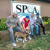 201001 SPCA Bills<br /> James Neiss/staff photographer <br /> Niagara Falls, NY - Buffalo Bills Alumni Association members, from left, Ken Jones, Lou Piccone and Booker Edgerson joined Niagara County SPCA Executive Director Tim Brennan, second from right, to promote Cure the Blue a charity they care deeply about and to sponsor a Cage at the SPCA.