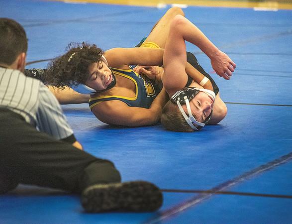 James Neiss/staff photographer <br /> Grand Island, NY - Wrestling in the 99 lb. weight class Niagara Falls Jaden Crumpler tries to pin Nik Massaro.