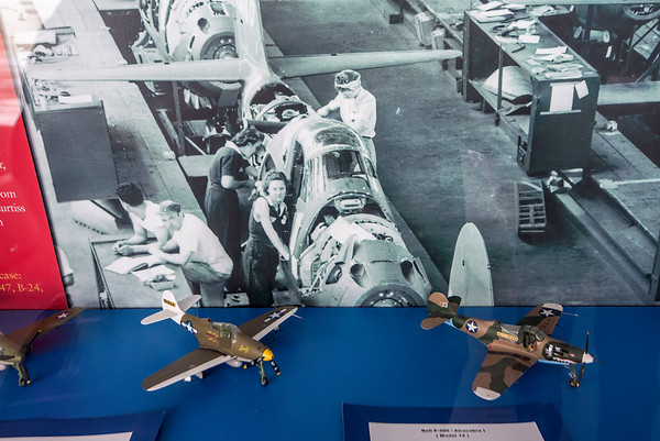 "James Neiss/staff photographer <br /> Niagara Falls, NY - A photo in a Niagara Aerospace Museum shows off workers assembling the Bell P39 Airacobra, one of the top army airforce fighter aircraft when the US entered WWII. The aircraft were built in Western New York and this plane was found at the bottom of a Russian lake. Niagara Aerospace Museum staff say they are in the process of restoring the wings and hope to put them back on in the near future. For more information and hours of operation visit: <a href=""https://niagaraaerospacemuseum.org"">https://niagaraaerospacemuseum.org</a>"