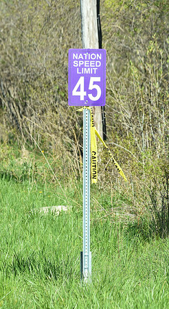 200521 Tuscarora Speed Limits 2<br /> James Neiss/staff photographer <br /> Lewiston, NY - New speed limit signs on Upper Mountain Road on the Tuscarora Indian Reservation.