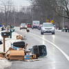 201228 Enterprise 3<br /> James Neiss/staff photographer <br /> Town of Niagara - Morning commuters in the 1100 block of Saunders Settlement Road in the Town of Niagara had to stay alert for wind blown trash as high winds crossed the area on Monday morning.