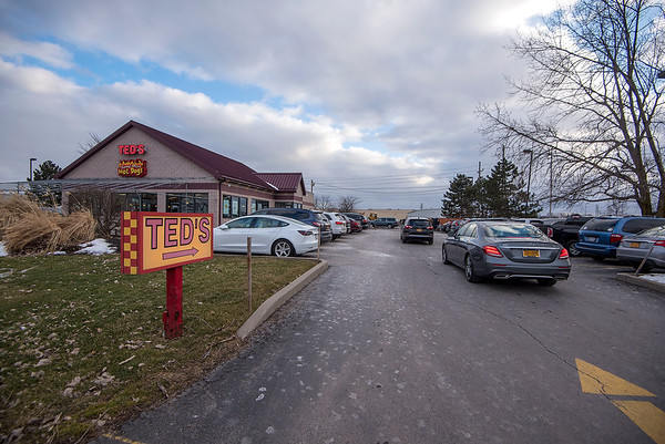 James Neiss/staff photographer <br /> Lockport, NY - Not an empty space in the lot as customers fill the Lockport Ted's to buy 99 cent hotdogs in celebration of Ted's birthday.