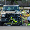 201001 Enterprise 2<br /> James Neiss/staff photographer <br /> Sanborn, NY - Tri-athlete John Donaldson of Niagara Falls checks over his bicycle before heading out for a 50 mile ride. Donaldson said he does so 2 or 3 times a week and is hoping to compete again depending on the status of the pandemic.