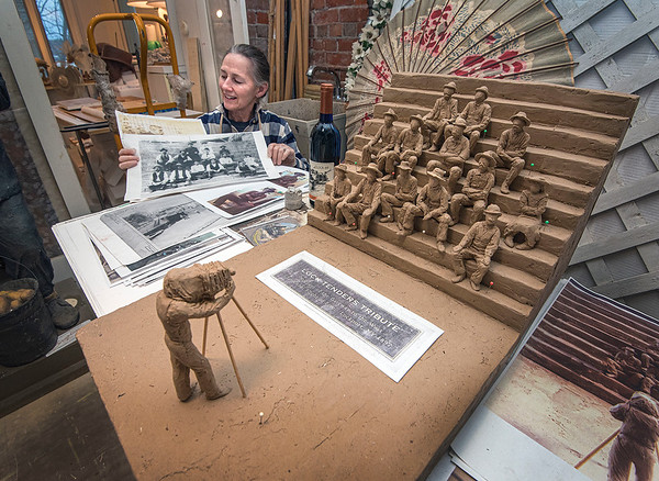 201230 Lock Tenders 4<br /> James Neiss/staff photographer <br /> Youngstown - Sculptor Susan Geissler is almost finished preparing four more Lock Tender Tribute statues that will join a fifth to be added to the Lockport Lock steps in June, bringing the total on display to eight. Six more figures will be added in phase 3 for a grand total of fourteen.