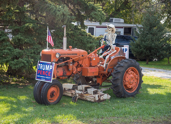 201006 Enterprise 1<br /> James Neiss/staff photographer <br /> Wilson, NY - This Trump supporter on Wilson Burt Road in Wilson does not appear to be afraid of the COVID-19 pandemic.
