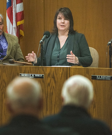 James Neiss/staff photographer <br /> Lockport, NY - Lockport Mayor Michelle Roman gives the State of the City address.