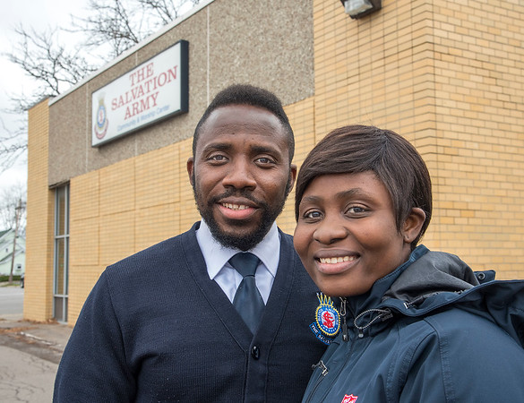 201124 Salvation Army Leaders 2<br /> James Neiss/staff photographer <br /> City of Tonawanda, NY - The Salvation Army of Tonawanda leaders LT. Bassey Archibong and his wife Ginikachukwu Archibong. <br /> <br /> (Editor's note: She asked that I use her husband's last name though provided her maiden name Ginikachukwu Onwuka)