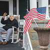 200501 WWII Vet Parade 1<br /> James Neiss/staff photographer <br /> Niagara Falls, NY - Family and friends got together to give Mike Romano, a WWII army veteran with a purple heart, a 95th surprise birthday parade in front of his Fourth Street home.