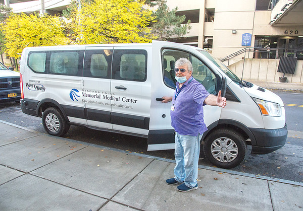 201023 Donated Van<br /> James Neiss/staff photographer <br /> Niagara Falls, NY - Niagara Falls Memorial Medical Center Behavioral Health Van Driver Joseph Garjano, said he was more than thrilled to move up to this ford F350 van. The van was presented to Memorial President and CEO Joseph A. Ruffolo by West Herr President & CEO Scott Bieler. Bieler and West Herr are well known for their generous support of health and wellness providers and organizations across Western New York. <br /> <br /> MEDIA ADVISORY<br />  <br /> West Herr Auto Group to donate <br /> van to Niagara Falls Memorial<br />  <br /> Thanksgiving will come early to Niagara Falls Memorial Medical Center on Friday when the West Herr Auto Group donates a van that will make services at Memorial more accessible to patients.<br />  <br /> The van will be presented to Memorial President and CEO Joseph A. Ruffolo by West Herr President & CEO Scott Bieler. Bieler and West Herr are well known for their generous support of health and wellness providers and organizations across Western New York. <br />  <br /> Friday's gift will be the second donation of a patient transportation van to the Falls medical center in less than three years and will support patients from Memorial's Continuing Day Treatment program. The CDT program provides long-term outpatient services to behavioral health patients.<br />  <br /> Friday's presentation will take place in front of Niagara Falls Memorial Medical Center's main entrance on 10th Street.<br />  <br /> Media coverage is invited. Participants will be available for interviews following the presentation<br />  <br /> WHAT: The West Herr Auto Group will present a van configured for patient transportation to Niagara Falls Memorial Medical Center<br /> WHEN: Friday, Oct. 23 at 9 a.m.<br />  <br /> WHERE: In front of Memorial Medical Center's main entrance, 621 10th St,. Niagara Falls <br />  <br /> WHO: West Herr President & CEO Scott Bieler and Niagara Falls Memorial Medical Center President & CEO Joseph A. Ruffolo<br /> ###