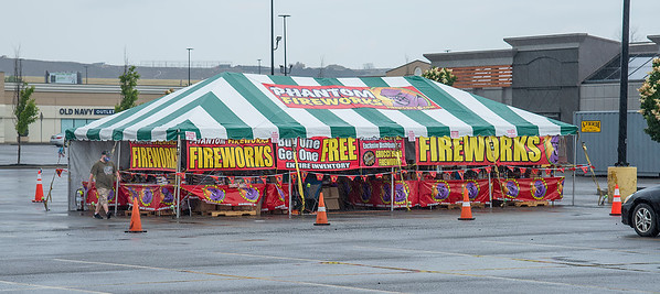 200623 Fireworks 1<br /> James Neiss/staff photographer <br /> Niagara Falls, NY - Legal fireworks tents are popping up all over Niagara County like this one in the Fashion Outlets of Niagara Falls lot.