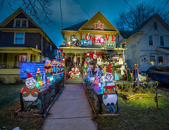 201222 Christmas Lights 1 <br /> James Neiss/staff photographer <br /> Niagara Falls, NY - The Niagara Beautification Commission Annual Holiday Decorating Contest Citywide Winner: 1853 Niagara Avenue, an incredible wooden display and great use of space!