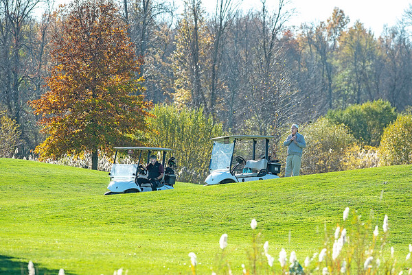 201104 Enterprise 2<br /> James Neiss/staff photographer <br /> North Tonawanda, NY - The early November day warmed up nicely for these golfers on an afternoon outing at Deerwood Golf Course in North Tonawanda on Wednesday.
