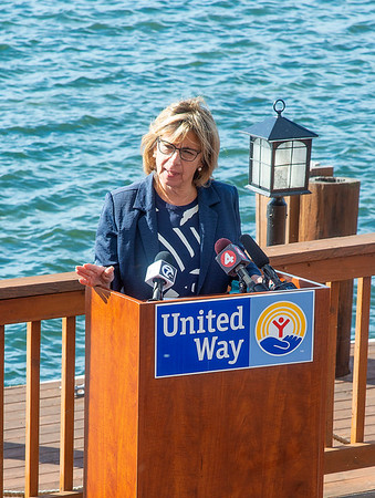 200918 United Way 1<br /> James Neiss/staff photographer <br /> Niagara Falls, NY - United Way of Greater Niagara President & CEO says a few words at the 2020 fundraising campaign kickoff held at the Niagara Riverside Resort.