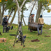 201021 History Channel 3<br /> James Neiss/staff photographer <br /> Niagara Falls, NY - Production crew wrestle a replica Annie Edson Taylor barrel into place for a shoot along the Niagara River.