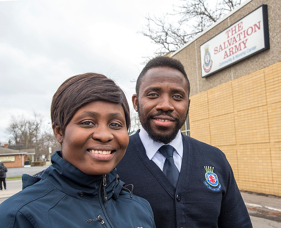 201124 Salvation Army Leaders 1<br /> James Neiss/staff photographer <br /> City of Tonawanda, NY - The Salvation Army of Tonawanda leaders LT. Bassey Archibong and his wife Ginikachukwu Archibong. <br /> <br /> (Editor's note: She asked that I use her husband's last name though provided her maiden name Ginikachukwu Onwuka)