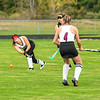 201008 Barker Wilson FH 2<br /> James Neiss/staff photographer <br /> Barker NY - Barker #16 Madison Gancasz hits the ball during field hockey game action against Wilson.