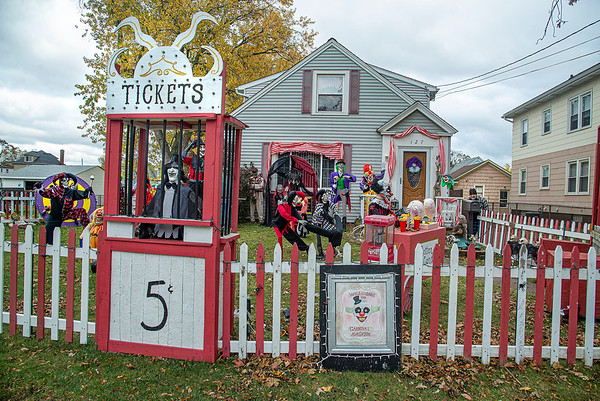201020 Clown Yard 3<br /> James Neiss/staff photographer <br /> Niagara Falls, NY - Michael Destino was seen clowning around in his 60th Street front yard where he and wife Cecilia have created a creepy clown fairground for Halloween.