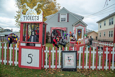 201020 Clown Yard 3 James Neiss/staff photographer  Niagara Falls, NY - Michael Destino was seen clowning around in his 60th Street front yard where he and wife Cecilia have created a creepy clown fairground for Halloween.