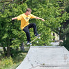 200908 Enterprise 2<br /> James Neiss/staff photographer <br /> Niagara Falls, NY - Brad Ludwig of Niagara Falls practices his moves at the Niagara Falls Skateboard Park.
