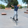 200729 Enterprise 1<br /> James Neiss/staff photographer <br /> Niagara Falls, NY - Robert Heitler, 19 of Lewiston, practices his moves at the Niagara Falls Skate Park.