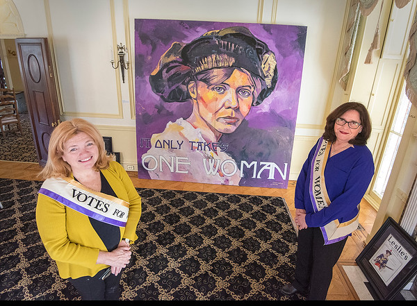James Neiss/staff photographer <br /> Lockport, NY - Ellen Martin and Mary Brennan-Taylor are co-chairs of The Art of Suffrage: Struggle, Sacrifice and Success art exhibition. The Kenan Center is hosting The Art of Suffrage: Struggle, Sacrifice and Success art exhibition, honoring the 100th anniversary of the woman's right to vote. The exhibition runs from February 9 - March 29 at the Kenan Center, 433 Locust Street in Lockport.