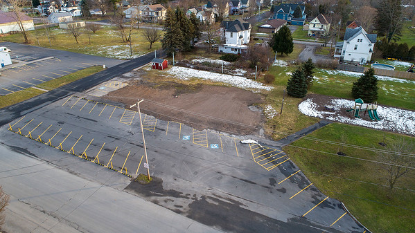 James Neiss/staff photographer <br /> Cambria, NY - An empty lot is all the remains of the Barker Town Hall and Library after it burned down.